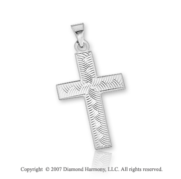 14k White Gold Braided Pattern Small Cross Pendant