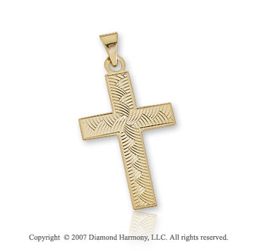 14k Yellow Gold Braided Pattern Small Cross Pendant