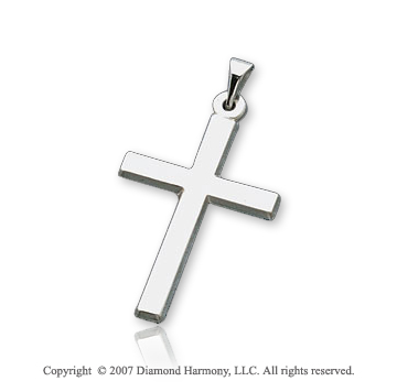 14k White Gold Divine Love Small Classic Cross Pendant