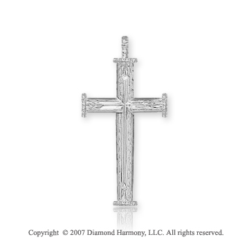 14k White Gold Devotional Medium Fashion Cross Pendant