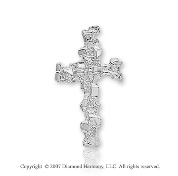 14k White Gold Abstra Carat Medium Fashion Cross Pendant
