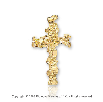 14k Yellow Gold Abstra Carat Medium Fashion Cross Pendant