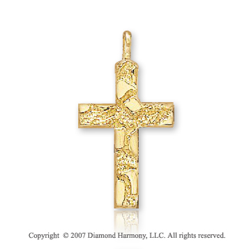 14k Yellow Goldold Rock Pattern Small Fashion Cross Pendant