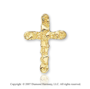 14k Yellow Goldold Round Rock Pattern Fashion Cross Pendant