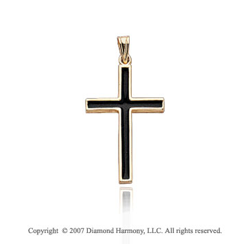 14k Yellow Goldold Divine Faith Classic Black Cross Pendant