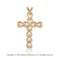 14k Yellow Goldold Multiple Hearts Fashion Small Cross Pendant