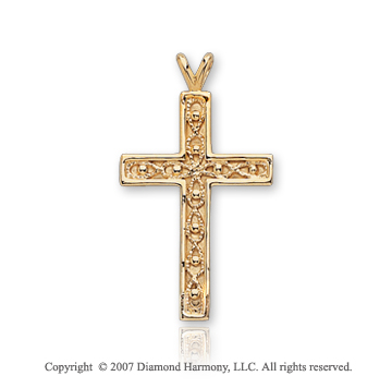 14k Yellow Gold Divine Devotion Classic Cross Pendant
