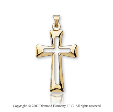 14k Yellow Gold Open Center Fashion Small Cross Pendant