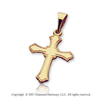 14k Yellow Gold Milgrain Fashion Small Cross Pendant