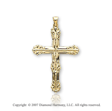 14k Yellow Gold Glorious Fashion Large Cross Pendant