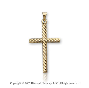 14k Yellow Gold Blessed Classic Medium Cross Pendant