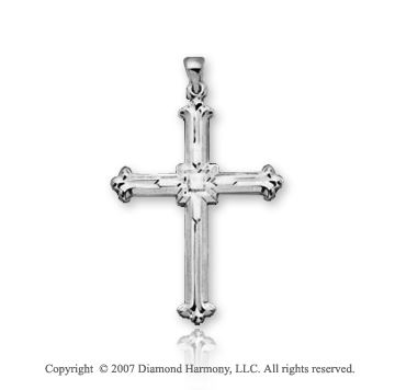 14k White Gold Vintage Fashion Large Cross Pendant