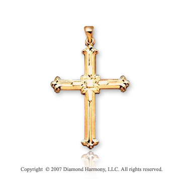 14k Yellow Gold Vintage Fashion Large Cross Pendant