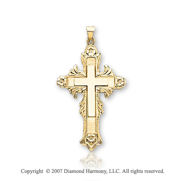 14k Yellow Goldold Divine Glory Fashion Large Cross Pendant
