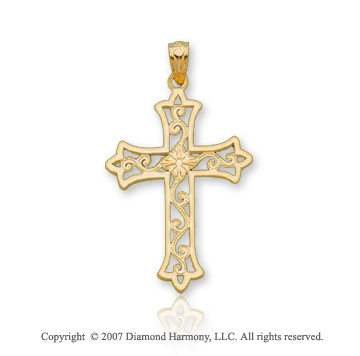 14k Yellow Gold Filigree Fashion Small Cross Pendant