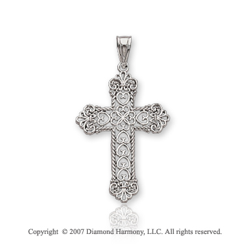 14k White Gold Multi Hearts Fashion Medium Cross Pendant