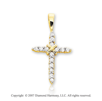 14k Yellow Gold Elegant Prong 1/6 Carat Diamond Cross