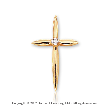 14k Yellow Gold Divine Elegance Prong Diamond Cross