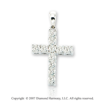 14k White Gold Divine Round Prong 2/3 Carat Diamond Cross