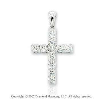 14k White Gold Divine Round Prong 1.00 Carat Diamond Cross