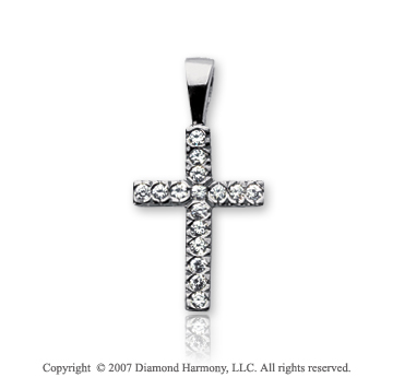 14k White Gold Classic Prong 1/6 Carat Diamond Cross