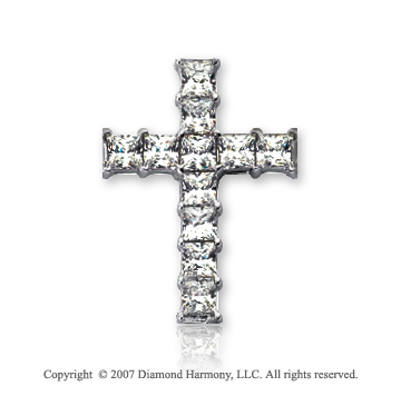 14k White Gold Princess Prong 1.90 Carat Diamond Cross