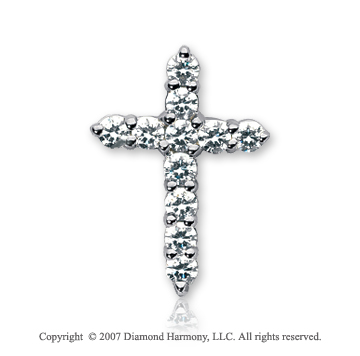 14k White Gold Divine Round 1.10 Carat Diamond Cross