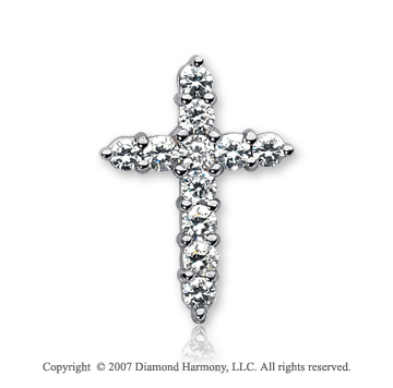 14k White Gold Divine Round 1.65 Carat Diamond Cross