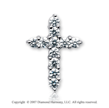 14k White Gold Divine Prong 1.10 Carat Diamond Cross