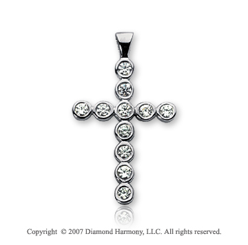 14k White Gold Classic Bezel 1/3 Carat Diamond Cross