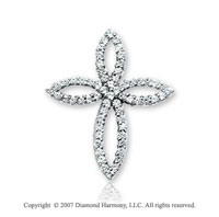 14k White Gold Four Petals Prong 1.25 Carat Diamond Cross