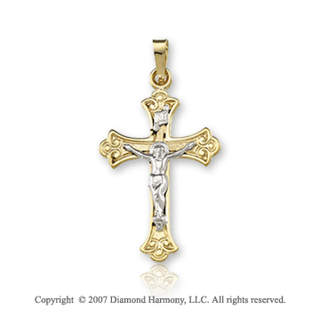 14k Two Tone Gold Divine Ornate Medium Carved Crucifix