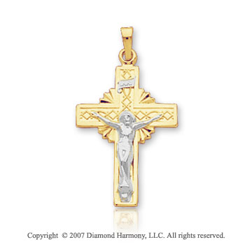 14k Two Tone Gold Elegant Style Small Carved Crucifix