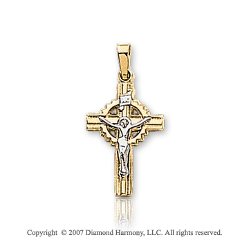 14k Two Tone Gold Ornate Small Carved Celtic Crucifix