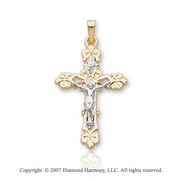 14k Two Tone Gold Modern Ornate Medium Carved Crucifix