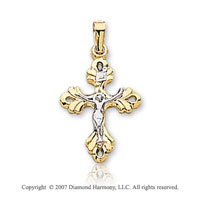14k Two Tone Gold True Faith Ornate Carved Crucifix