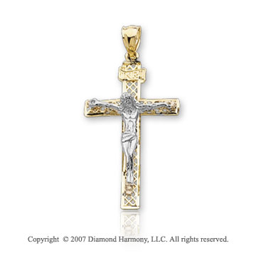 14k Two Tone  Gold Faithful Filigree Small Carved Crucifix