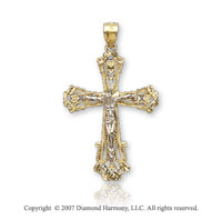 14k Two Tone Gold Filigree Distin Carat Carved Crucifix