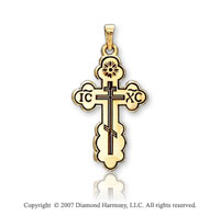 14k Yellow Gold Sacred Small Carved Orthodox Cross