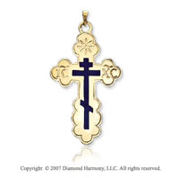 14k Yellow Gold Blue Inlay Large Carved Orthodox Cross
