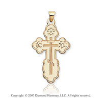 14k Yellow Gold Devout Small Carved Orthodox Cross