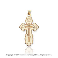 14k Yellow Gold Devout Children Carved Orthodox Cross