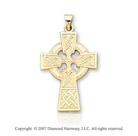 14k Yellow Goldold Elegant Devotion Medium Carved Celtic Cross