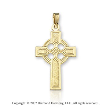 14k Yellow Gold Classic Faith Small Carved Celtic Cross