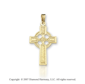 14k Yellow Goldold Stylish Devotion Small Carved Celtic Cross
