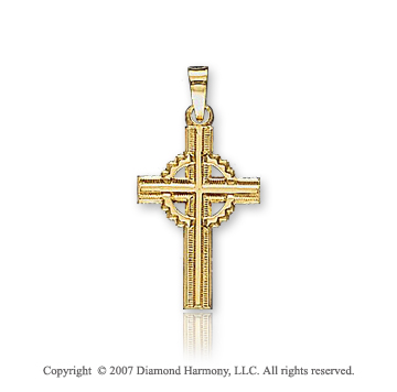14k Yellow Goldold Vintage Style Children Carved Celtic Cross