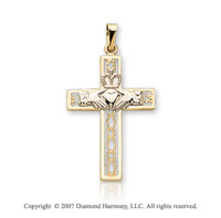 14k Two Tone Gold Filigree Small Carved Claddagh Cross