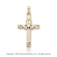 14k Two Tone Gold Ornate Small Carved Claddagh Cross