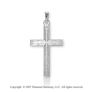 14k White Gold Classic Ornate Carved Small Cross Pendant