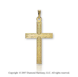 14k Yellow Goldold Classic Ornate Carved Small Cross Pendant